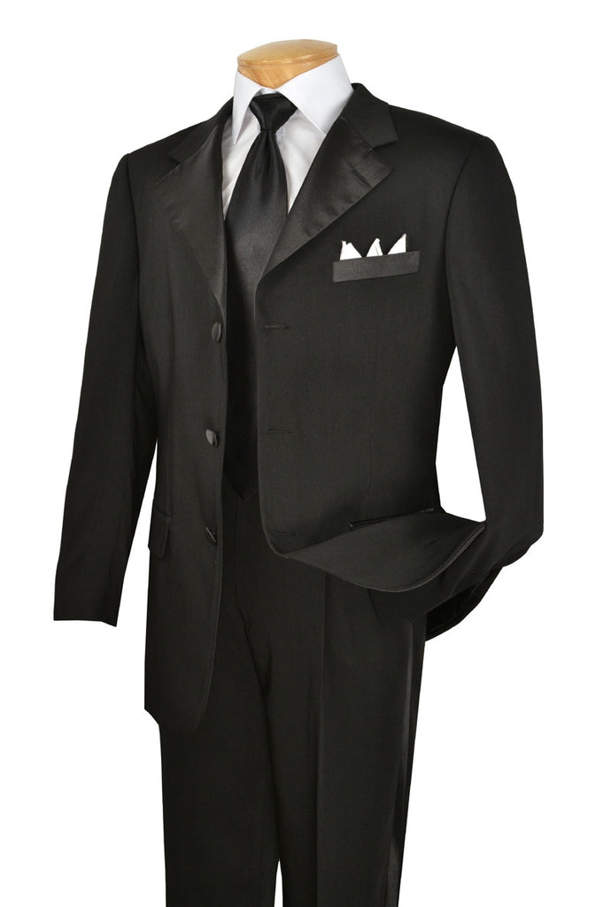 MEN'S TUXEDO CLASSIC FIT TUXEDO COLLECTION IN BLACK THREE BUTTON DESIGN