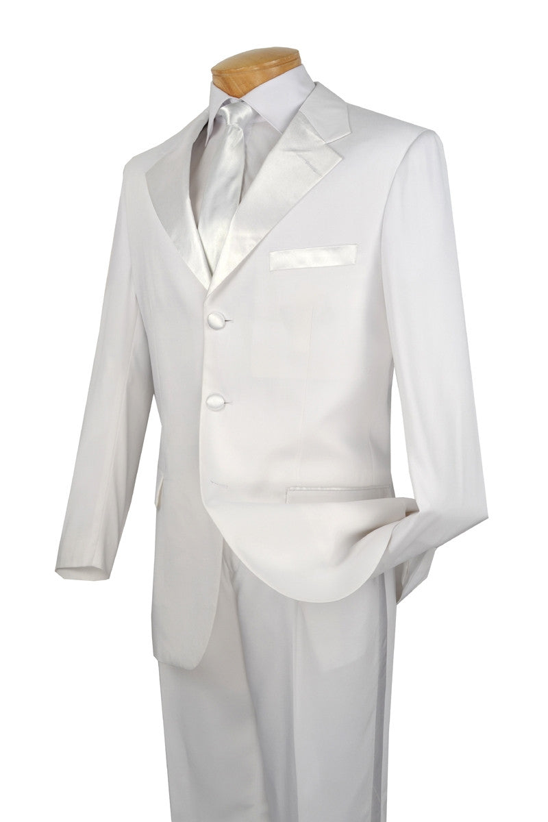 Men's Regular Fit Tuxedo 2 Piece Collection In White 3 Button Design - SUITS FOR MENS