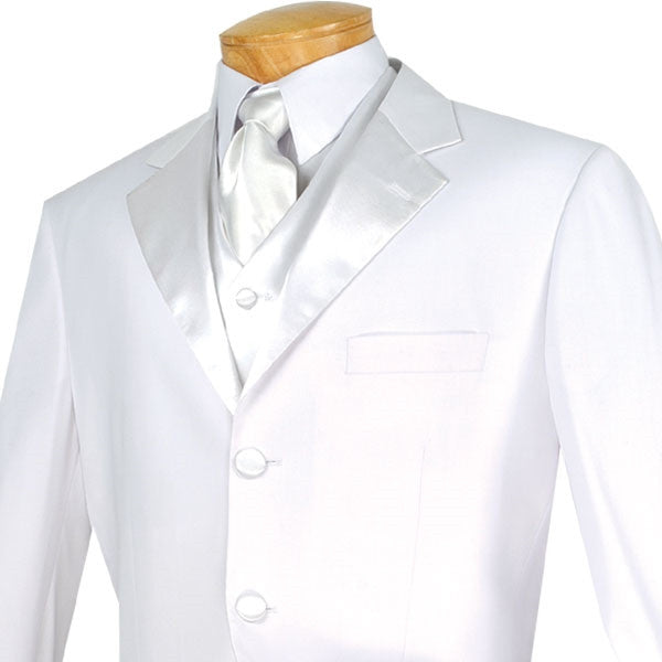 Men's Regular Fit Tuxedo 3 Piece with Vest White - SUITS FOR MENS