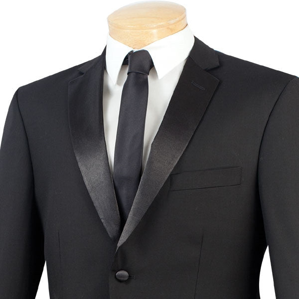 Regular Fit Satin Lapel 2 Piece Tuxedo in Black - SUITS FOR MENS