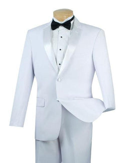 WEDDING SUITS FOR MEN MEN'S CLASSIC FIT TUXEDO COLLECTION IN WHITE 2 BUTTON DESIGN