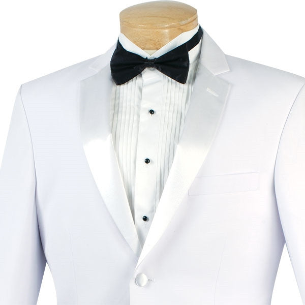 Regular Fit Satin Lapel 2 Piece Tuxedo in White - SUITS FOR MENS