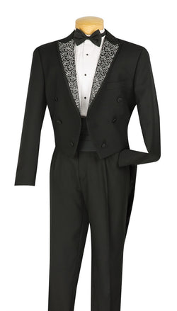 Regular Fit Black Tuxedo 4 Pieces with Vest Bow Tie Cummerbund - SUITS FOR MENS