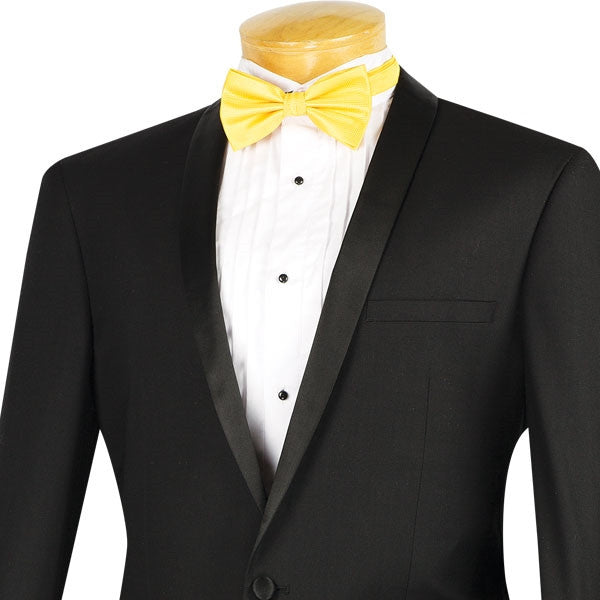 Kingsman Collection - Shawl Collar Slim Fit Tuxedo 2 Piece 1 Button Black - SUITS FOR MENS