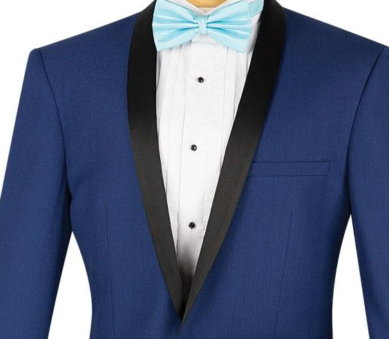 Kingsman Collection - Shawl Collar Slim Fit Tuxedo 2 Piece 1 Button in Blue - SUITS FOR MENS