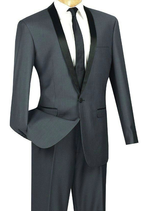 Kingsman Collection - Shawl Lapel Slim Fit Tuxedo 2 Piece 1 Button Heather Gray - SUITS FOR MENS