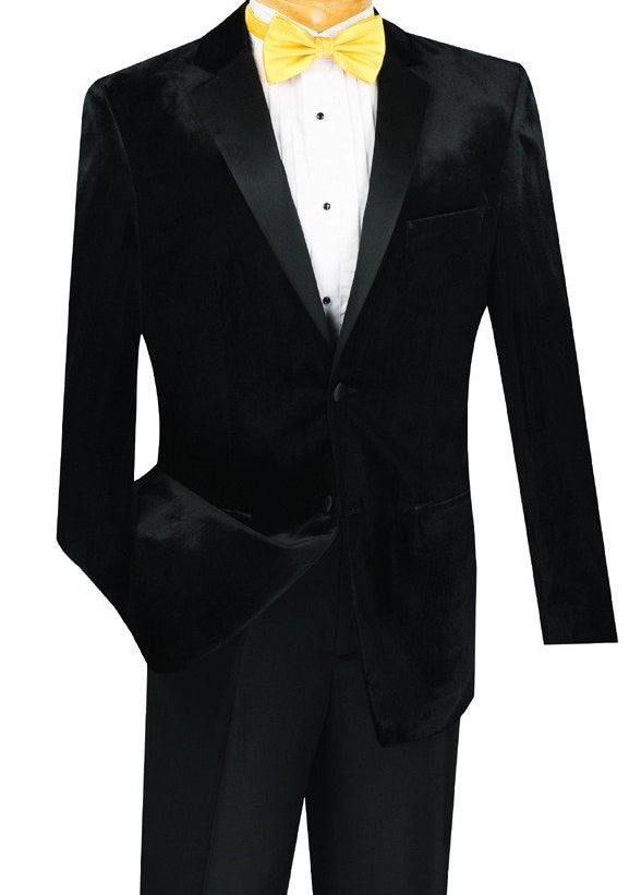 Men's Slim Fit Velvet Tuxedo 2 Piece in Black - SUITS FOR MENS