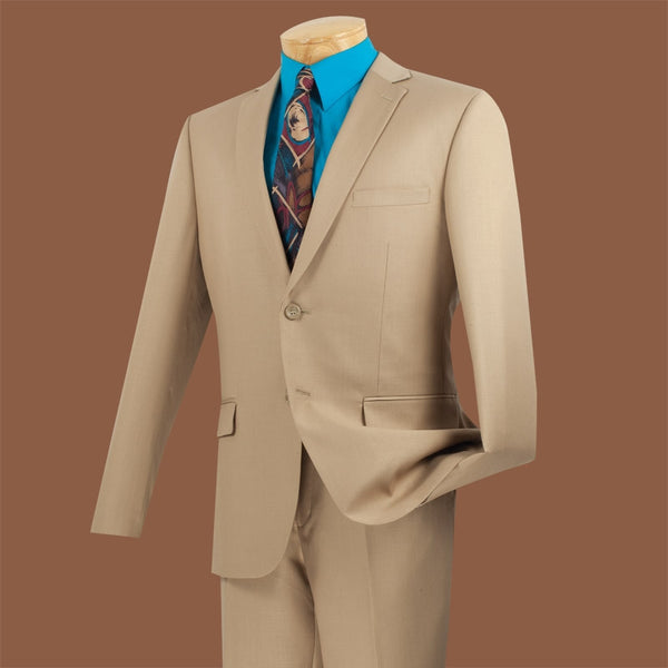 Beige Ultra Slim Fit 2 Piece Business Suit - SUITS FOR MENS