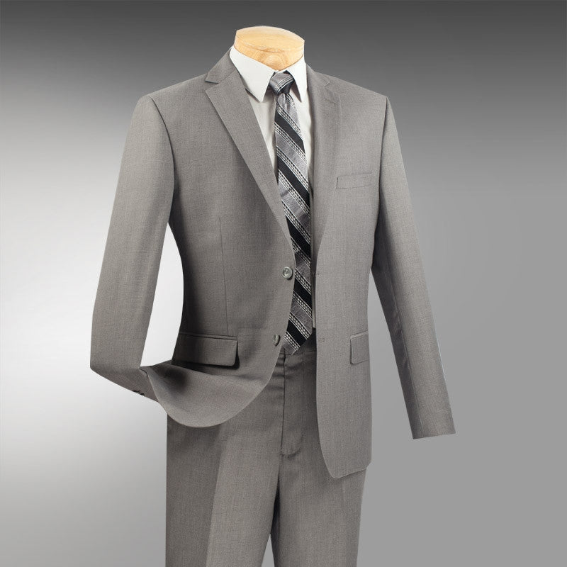 BRAND-NEW SOLID GRAY ULTRA SLIM FIT MEN'S GRAY BUSINESS SUITS