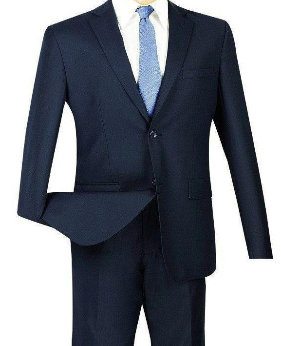 SOLID NAVY ULTRA SLIM FIT MEN'S BUSINESS SUITS BRAND-NEW