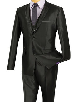 Designed Shiny Sharkskin Suit Ultra Slim Fit 3 Piece in Black - SUITS FOR MENS