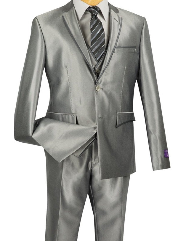 DESIGNED SUITS ULTRA SLIM FIT WITH VEST GRAY SUITS 3PCS NEW