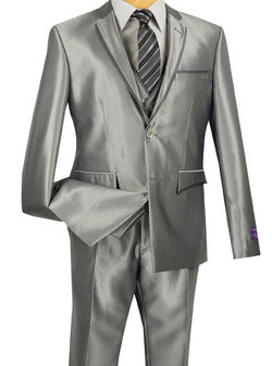 Designed Suit Ultra Slim Fit 3 Piece With Vest Gray - SUITS FOR MENS
