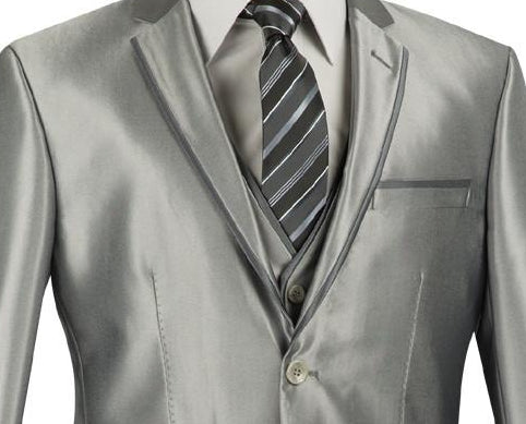 Designed Shiny Sharkskin Suit Ultra Slim Fit 3 Piece in Gray - SUITS FOR MENS