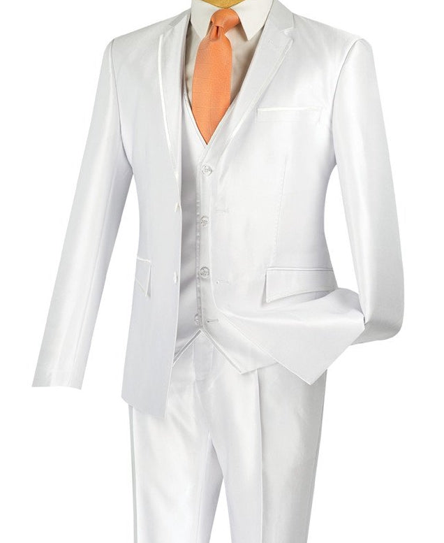 Designed Suit Ultra Slim Fit 3 Piece With Vest White - SUITS FOR MENS
