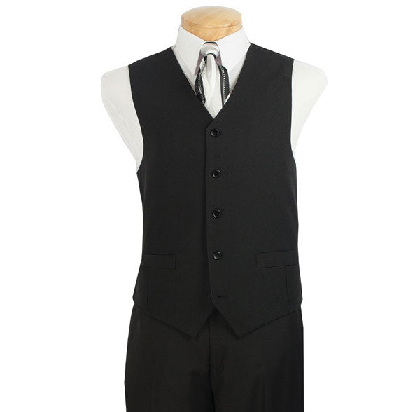Black Men's Regular Fit Vest 5 Buttons - SUITS FOR MENS