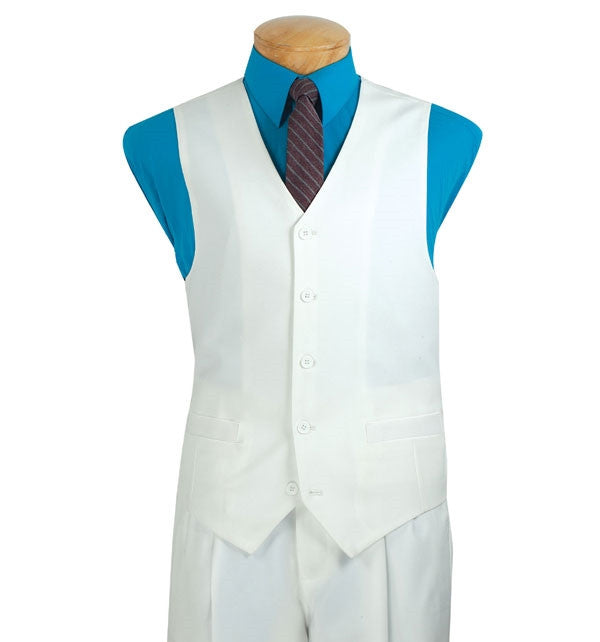 Men's Classic Fit Vest 5 Buttons in White - SUITS FOR MENS
