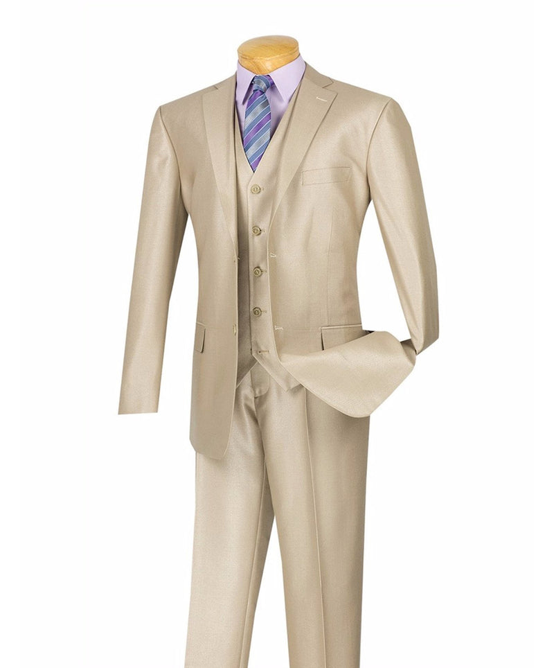 Nautilus Collection - Shiny Regular Fit Men's Suit 3 Piece 2 Button in Beige