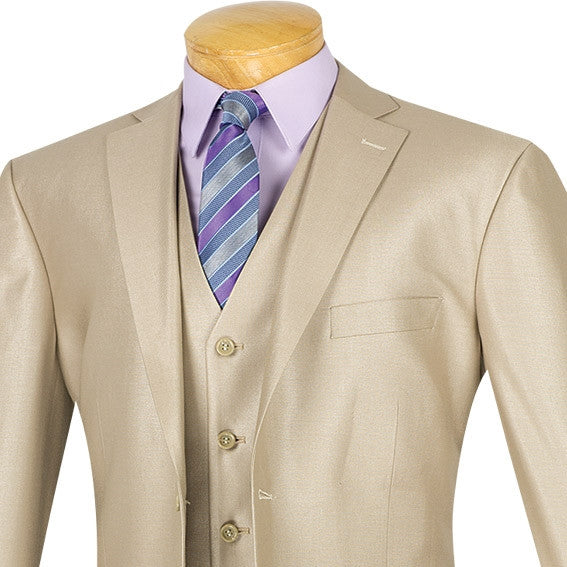 CLASSIC FIT MEN'S SUITS WITH VEST 3 PIECE 2 BUTTONS BEIGE