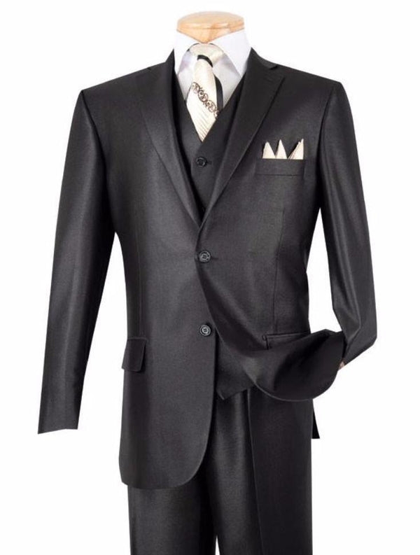 CLASSIC MEN'S SUITS WITH VEST 3 PIECE 2 BUTTONS BLACK