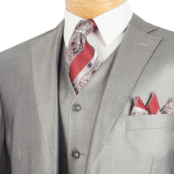 CLASSIC MEN'S SUITS WITH VEST 3 PIECE 2 BUTTONS GRAY