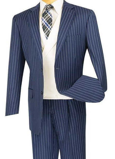 Classic Fit Men's Suit With Vest 2 Buttons Banker Stripe in Blue - SUITS OUTLETS