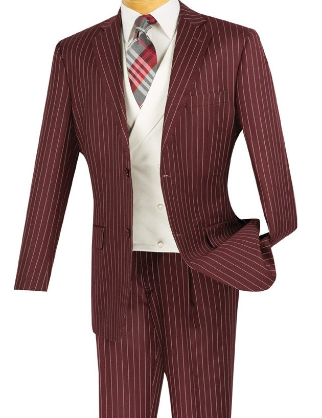 CLASSIC FIT 3 PCS MEN'S BURGUNDY SUITS WITH VEST 2 BUTTONS BANKER STRIPE
