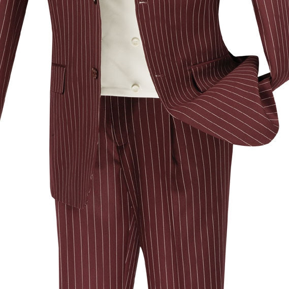 Helios Collection - Regular Fit 3 Piece Suit 2 Button Banker Stripe in Burgundy - SUITS FOR MENS