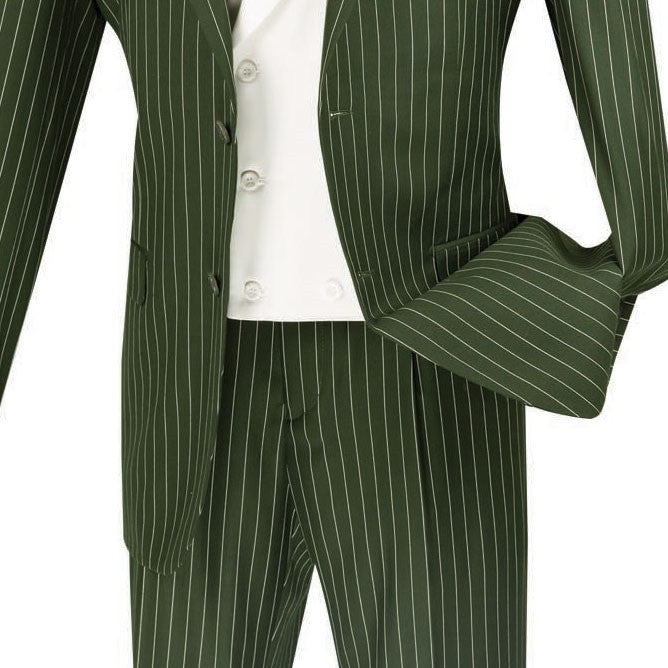 Helios Collection - Regular Fit 3 Piece Suit 2 Button Banker Stripe in Olive - SUITS FOR MENS