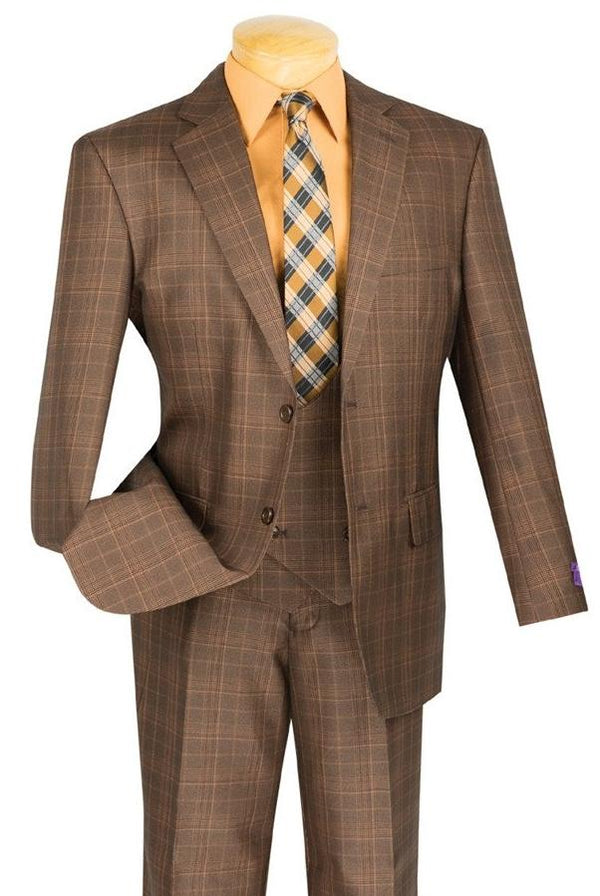 CLASSIC FIT MEN'S 3PCS SUITS 2 BUTTONS CHESTNUT SUITS GLEN PLAID