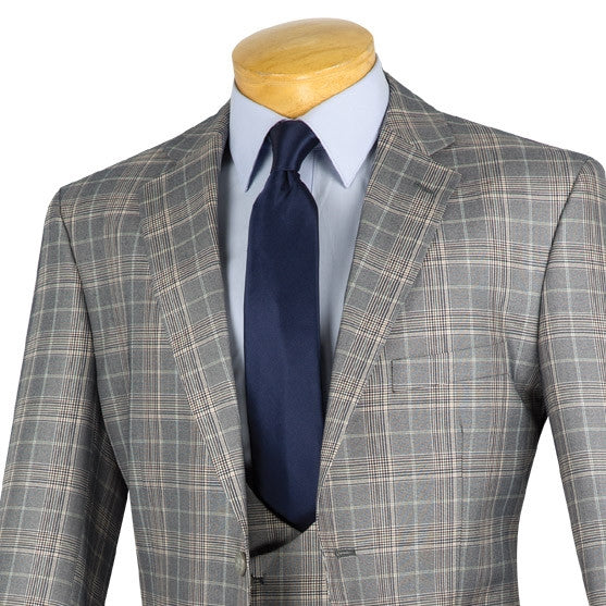 CLASSIC FIT MEN'S 3PCS SUITS 2 BUTTONS GRAY SUITS GLEN PLAID