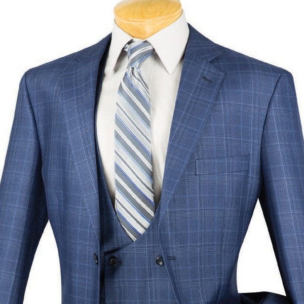 CLASSIC FIT MEN'S 3PCS SUITS 2 BUTTONS OXFORD BLUE SUITS GLEN PLAID