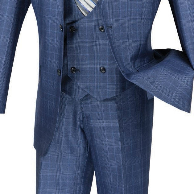 Renaissance Collection - Regular Fit 3 Piece Suit Oxford Blue - SUITS FOR MENS