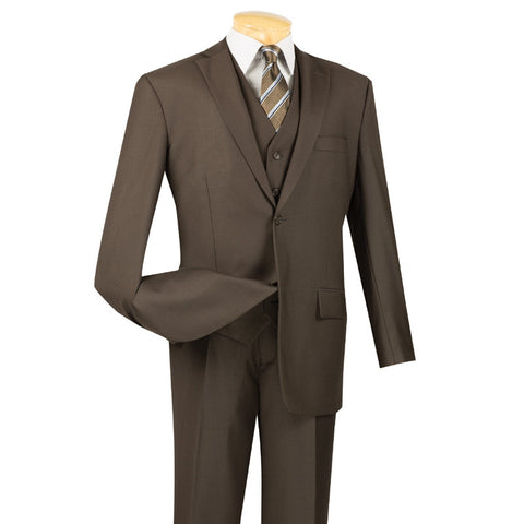 CLASSIC FIT VINCI MEN'S SUITS WITH VEST 3 PIECE 2 BUTTONS PURE BROWN SUITS SOLID COLOR