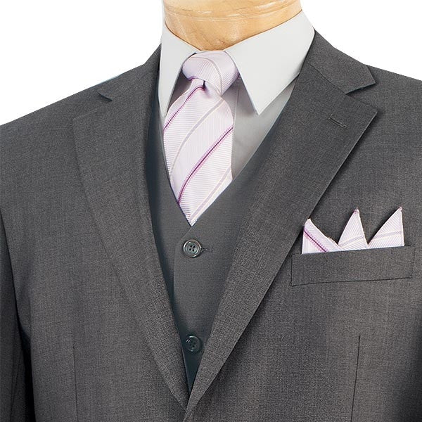 CLASSIC MEN'S SUITS WITH VEST 3 PIECE 2 BUTTONS HEATHER GRAY