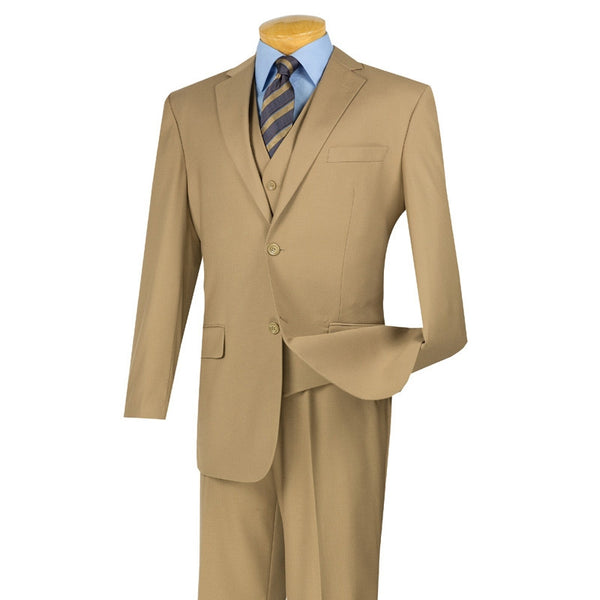 CLASSIC MEN'S SUITS WITH VEST 3 PIECE 2 BUTTONS KHAKI SUITS SOLID