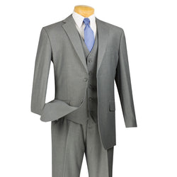Morgan Collection - Regular Fit 3 Piece Suit 2 Button Medium Gray - SUITS FOR MENS