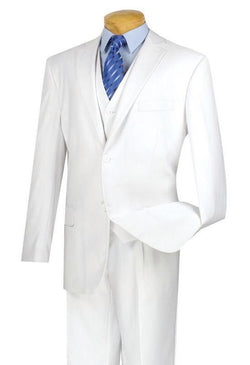 CLASSIC FIT VINCI MEN'S SUITS WITH VEST 3 PIECE 2 BUTTONS PURE WHITE SUIT