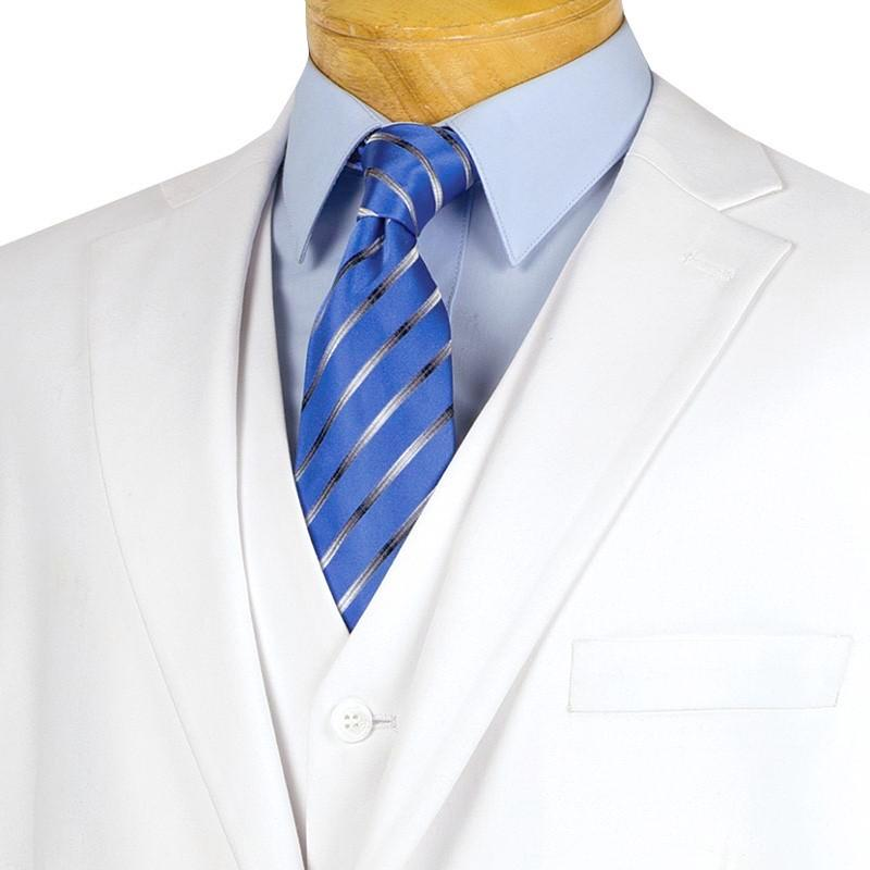 Morgan Collection - Regular Fit 3 Piece Suit 2 Button White - SUITS FOR MENS