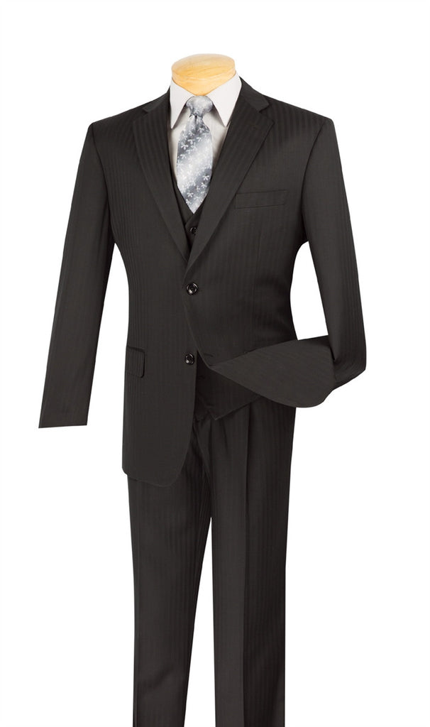 CLASSIC FIT SUITS MEN'S BLACK SUIT TONE ON TONE STRIPE WITH VEST 2 BUTTONS NEW !