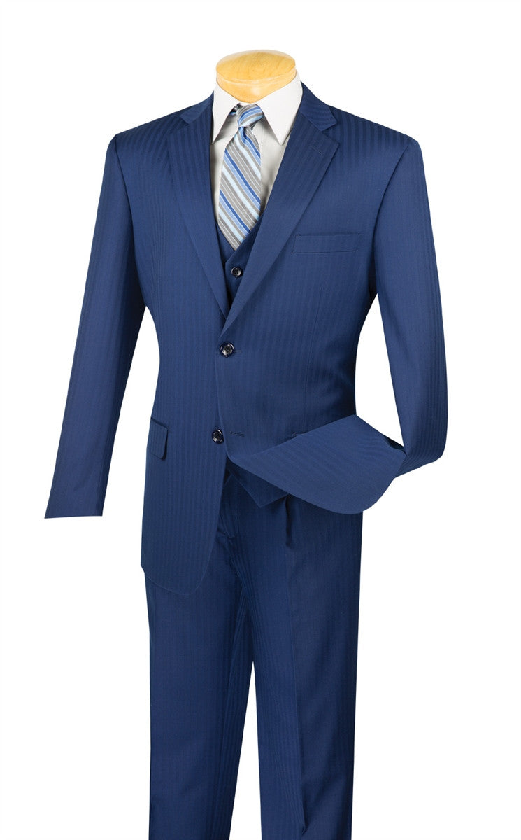 CLASSIC FIT MEN'S BLUE SUIT TONE ON TONE STRIPE WITH VEST 2 BUTTONS NEW