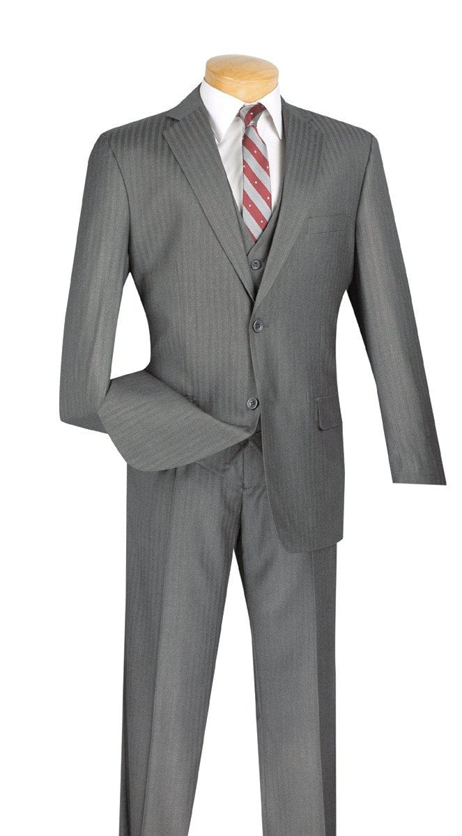 CLASSIC FIT MEN'S SUIT MEDIUM GRAY TONE ON TONE STRIPE WITH VEST 2 BUTTONS NEW