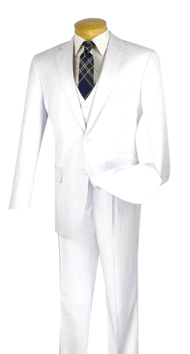 CLASSIC FIT MEN'S SUIT WHITE TONE ON TONE STRIPE WITH VEST 2 BUTTONS NEW