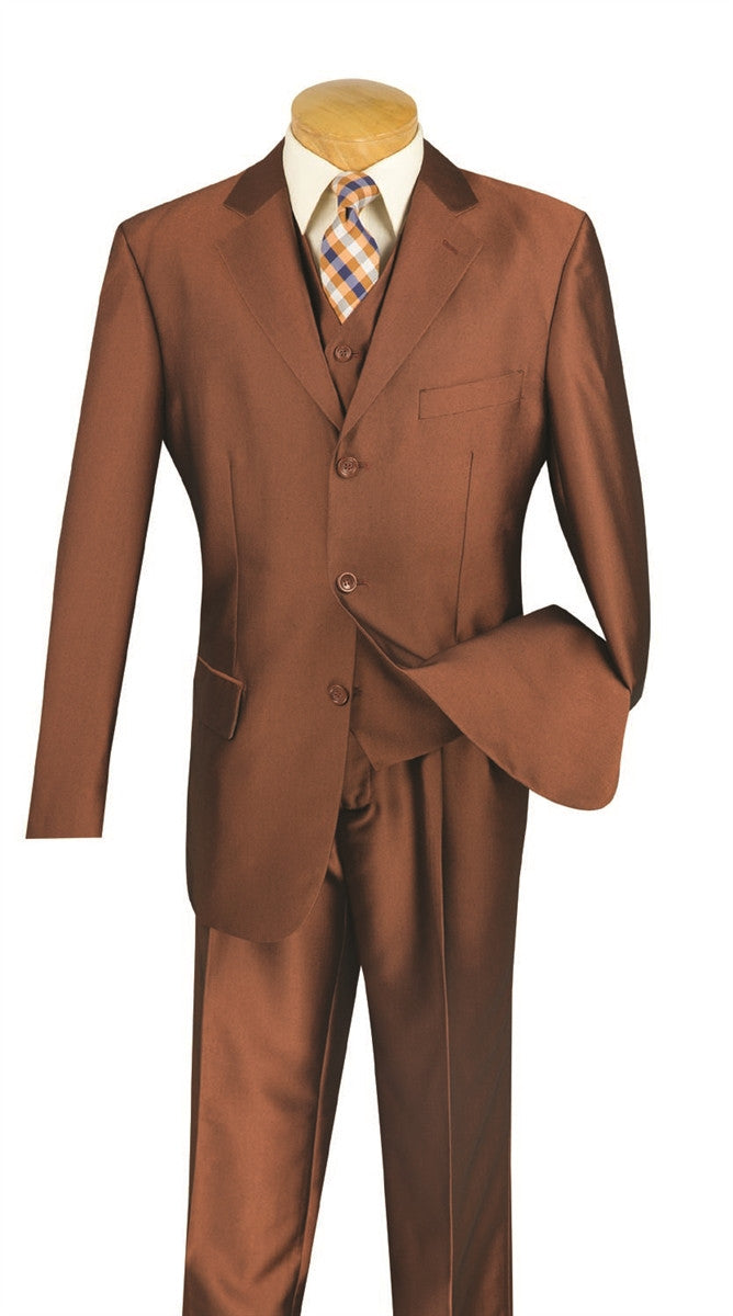 CLASSIC-FIT MEN'S DRESS SUITS WITH VEST 3 PIECE 3 BUTTONS SHARK SKIN AMBER