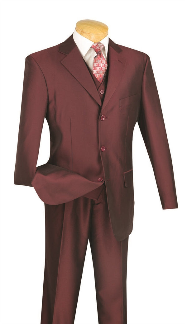 Lazio Collection - Regular Fit Dress Suit 3 Piece 3 Button Shiny Sharkskin in Burgundy - SUITS FOR MENS