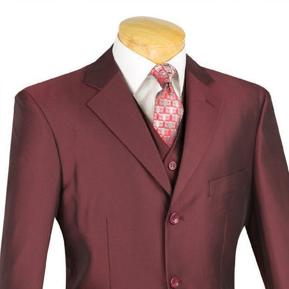 Lazio Collection - Men's Regular Fit Dress Suit 3 Piece 3 Button Sharkskin in Burgundy - SUITS FOR MENS