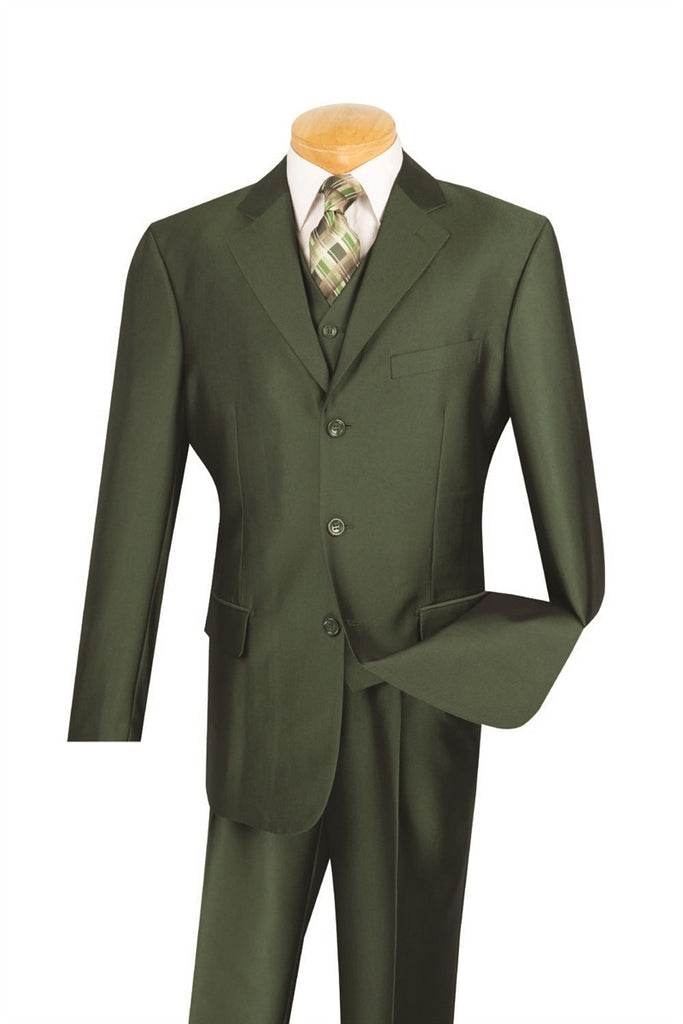 CLASSIC-FIT MEN'S DRESS SUITS WITH VEST 3 PIECE 3 BUTTONS SHARK SKIN OLIVE