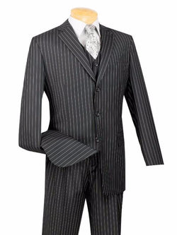 VINCI CLASSIC MEN'S SUITS WITH VEST 3 PIECE 3 BUTTONS BANKER STRIPE BLACK
