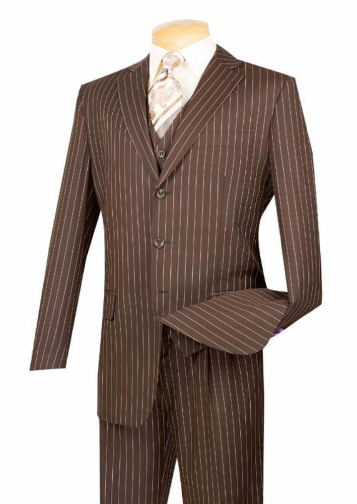 VINCI CLASSIC MEN'S SUITS WITH VEST 3 PIECE 3 BUTTONS BANKER STRIPE BROWN