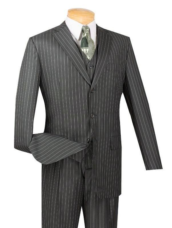 VINCI CLASSIC MEN'S SUITS WITH VEST 3 PIECE 3 BUTTONS BANKER STRIPE CHARCOAL